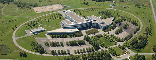 Aerial view of the Canada Space Agency, located in St. Hubert, east of Montreal