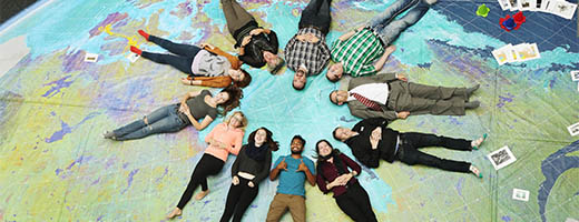 everyday benefits of space exploration ca students at saint mary s university in halifax lying on a giant map of seen