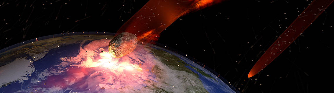 Illustration of asteroids striking Earth