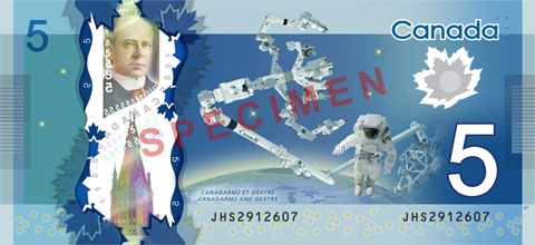 Image of Canadarm2 on the $5 Canadian note