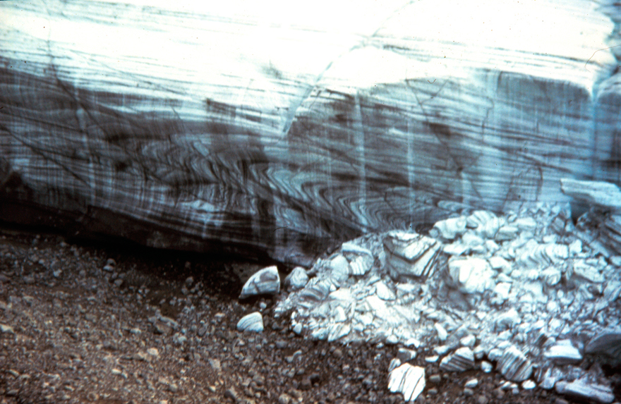 Dry calving on lateral margin of Aktineq Glacier