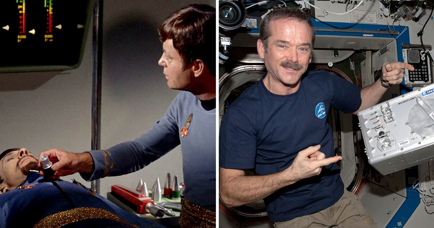 Star Trek image on the left and Chris Hadfield on the right