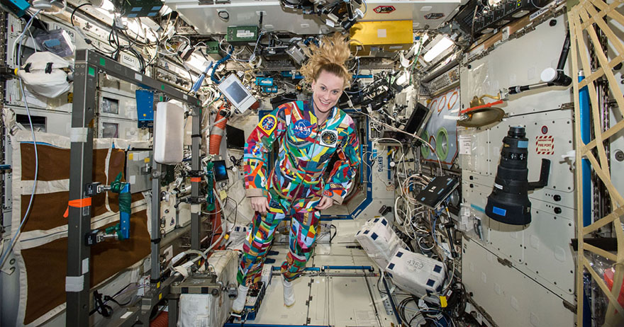 Kate Rubins wearing hand-painted spacesuit