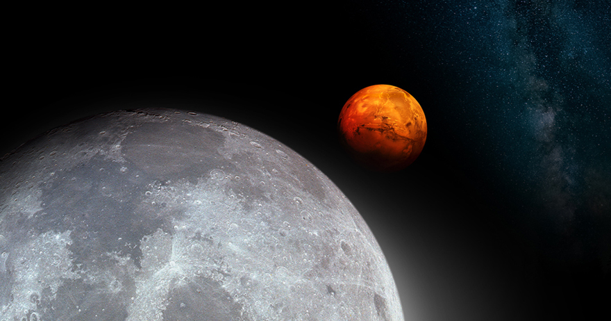 Image of the Moon and Mars