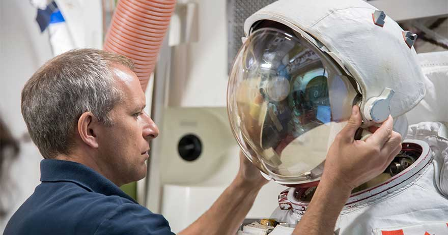 David Saint-Jacques trains in the International Space Station airlock simulator