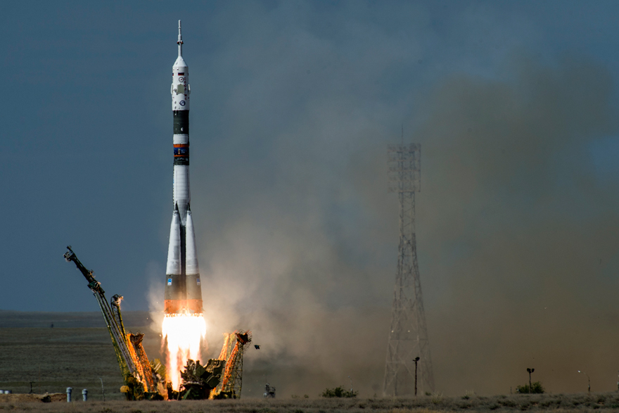 Launch of the Soyuz rocket for Expedition 56/57