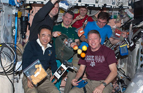 Astronaut's mealtime onboard the ISS (International Space Station).