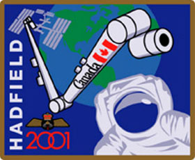 Patch STS-100. This patch commemorates Canada's historic participation in Mission STS-100, Assembly Flight 6A of the International Space Station (ISS). The patch celebrates the delivery and installation of the second-generation Canadian robotic arm to the Station. It also highlights CSA Astronaut Chris Hadfield's space walk, the first time a Canadian stepped out into the vacuum of space. The Astronaut Wings on the patch were presented to Colonel Hadfield by the Prime Minister of Canada after his first space mission, and represent his pride in his country and his military heritage. The patch was designed by Cynthia DeWit, a Canadian Fine Arts student from Conestoga College in Ontario.