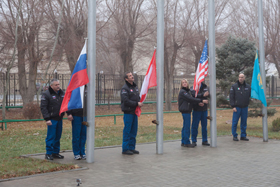 the Baikonur flag-raising ceremony.