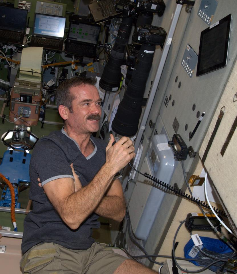 Hadfield during his HAM Radio session with students