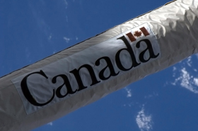 A photo of the Canada logo on the Canadarm2
