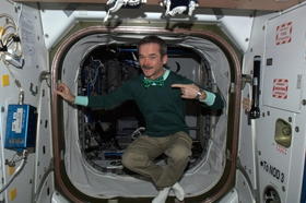 Photo of Chris Hadfield dressed for St. Patrick's