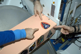 The Expedition 34 patch in place on the Space Station.