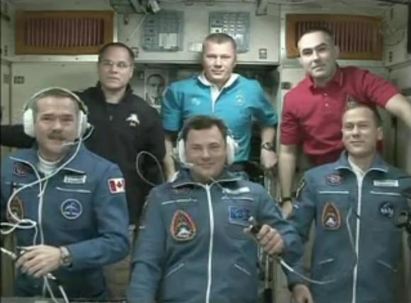 Chris Hadfield and his crewmates at the International Space Station