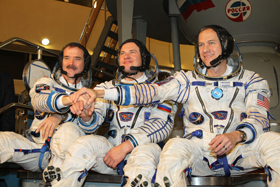 Expedition 34: Chris Hadfield, Roman Romanenko, Tom Marshburn.