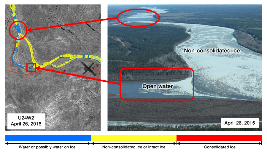 Slave River ice cover on April 26, 2015 - RADARSAT-2 product and aerial validation