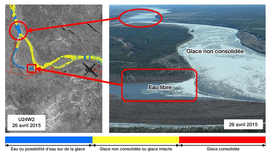 Couverture glacielle de la rivière des Esclaves, 26 avril 2015 – Produit RADARSAT-2 et validation aérienne