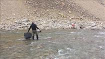 Jeremy Hansen on a geological expedition on Victoria Island - River crossing