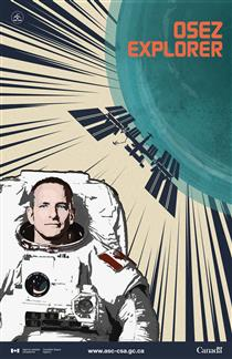 Affiche officielle de l'astronaute canadien David Saint-Jacques de la mission Expedition 58/59