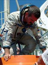 Chris Hadfield in a Sokol suit