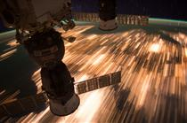 Astonishing light trail view from the ISS