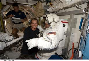 Julie Payette with Mission Specialist Dave Wolf