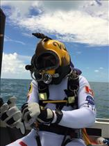 Jeremy Hansen first helmet training dive.