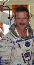 Chris Hadfield wearing a Russian Sokol suit