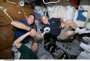 Astronauts Christopher Cassidy, Dave Wolf and Tom Marshburn