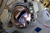 Selfie of Thomas Pesquet during a spacewalk