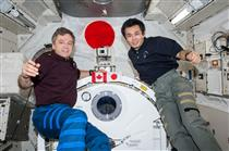 Robert Thirsk and Koichi Wakata during Expedition 20