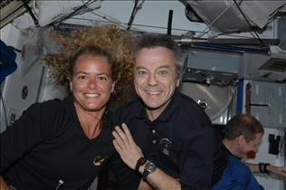 Astronauts Julie Payette and Bob Thirsk