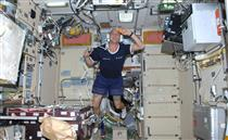 Guy Laliberté inside the Zvezda module of the International Space Station