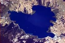 The heart-shaped Lake Taupo as seen from the ISS