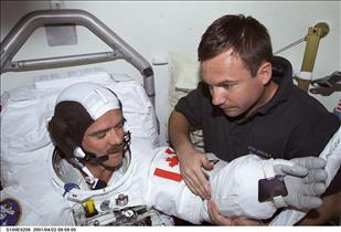 Astronaut Chris Hadfield suiting up