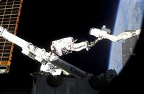 Astronaut Chris Hadfield on mission STS-100 spacewalk