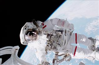 Astronaut Chris Hadfield on a mission STS-100 spacewalk