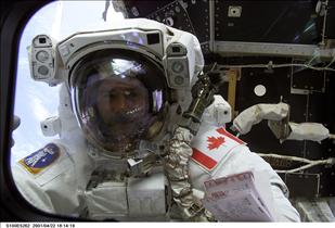 Astronaut Chris Hadfield on a spacewalk, mission STS-100