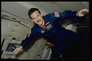 Astronaut Chris Hadfield during a parabolic flight