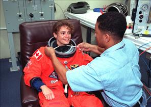 Astronaut Julie Payette before launch, mission STS-96