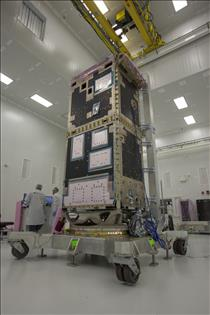 The structure of one of the RADARSAT Constellation spacecraft
