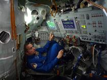 David Saint-Jacques in the Soyuz simulator