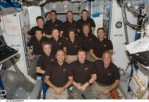 The joint crew of Endeavour and the International Space Station