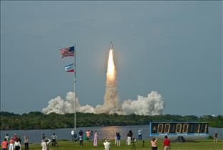 View of the launch of Space Shuttle Endeavour
