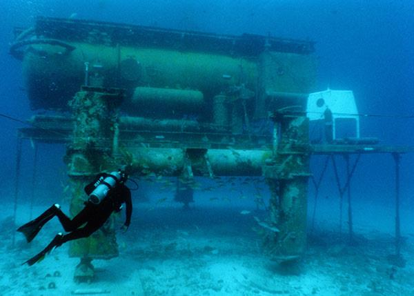 Larger image of the Aquarius underwater habitat and laboratory