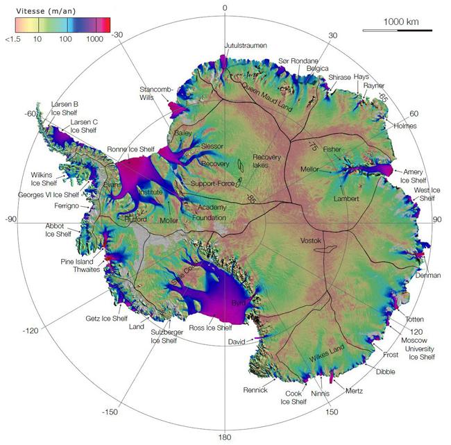 Image de l'écoulement glaciaire en Antarctique