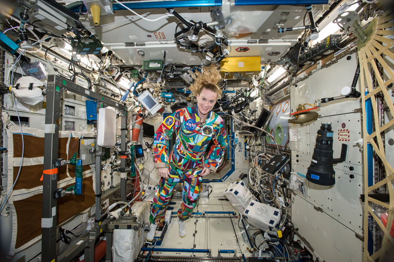 Kate Rubins wearing hand-painted space suit