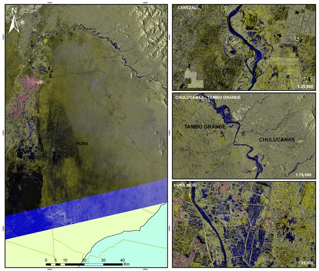 RADARSAT-2 images of the flooding in Peru - Spring 2017 - Piura River