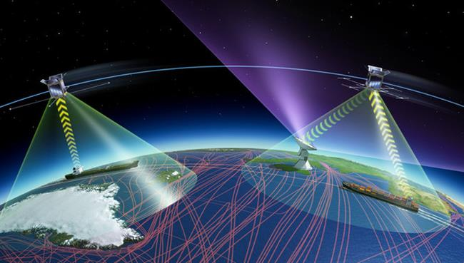 Image depicting satellite antennas receiving AIS signals emitted by vessels