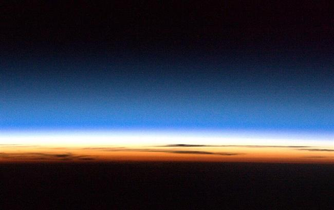 The thin atmosphere of Earth seen from the ISS
